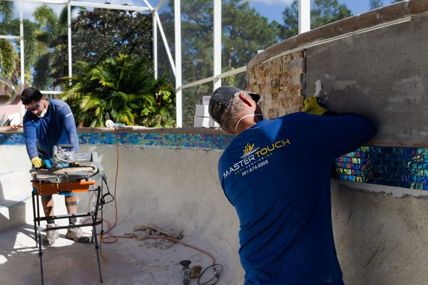 Swimming Pool Resurfacing Glass tiles and marble