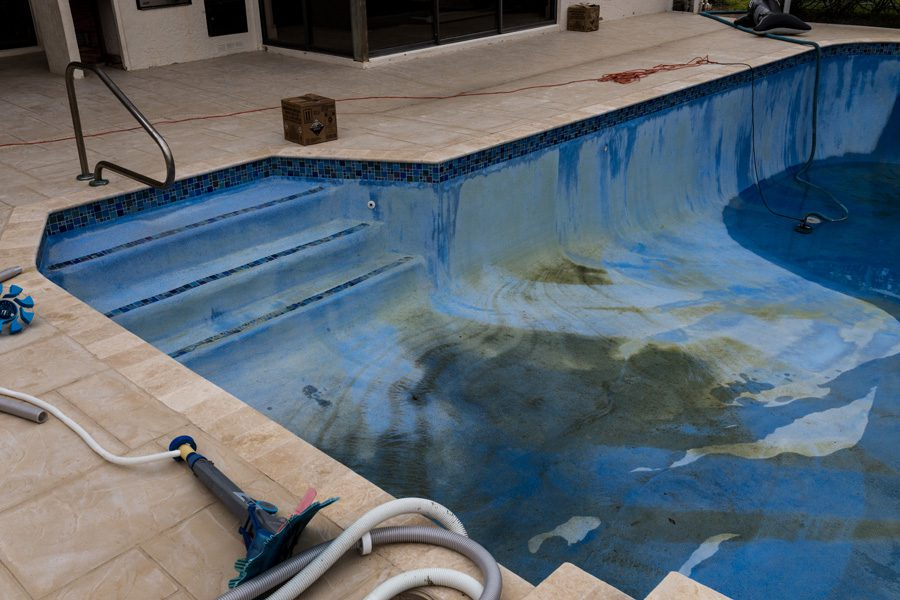 Acid Washing - Draining the swimming pool